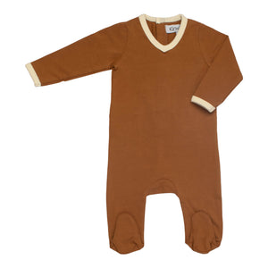 Baby Footie | Kin & Kin | V-neck - Toffee