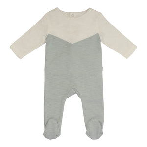 Baby Footie | P&P | Color Block - Dusty Blue