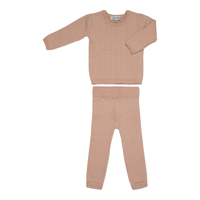 Baby Knit Set | Kin & Kin | Pointelle Long Sleeve - Old rose