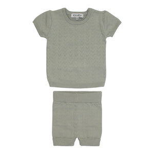 Baby Knit Set | Kin & Kin | Pointelle Short Sleeve - Dry Green