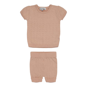 Baby Knit Set | Kin & Kin | Pointelle Short Sleeve - Old rose