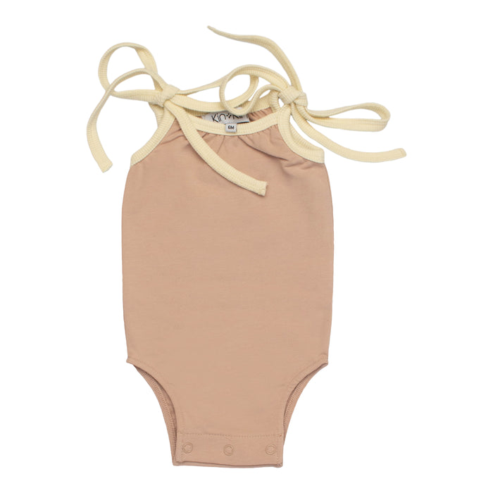 Baby Romper | Kin & Kin | Grosgrain Ribbon Trim - Old rose