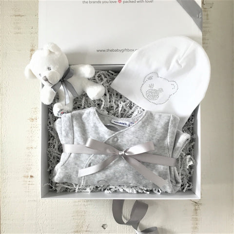 Teddy Bear Themed Baby Gift Set Grey Plush Velour Footie With White Beanie