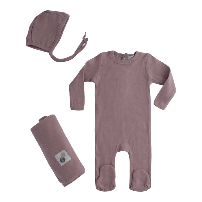 Layette Collection | Lil Legs | Ribbed Footy + Bonnet + Blanket | Mauve