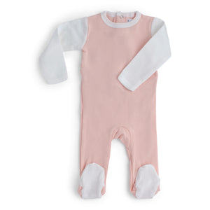 Pink & white cotton baby footie.