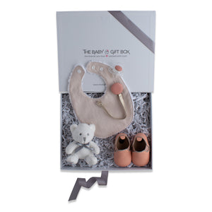 Baby shower gift set, baby accessories in coral color theme. Beautifully wrapped in elegant white & grey gift box.