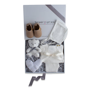 Baby shower gift set, baby clothing & accessories in white color theme. Beautifully wrapped in elegant grey & white gift box.