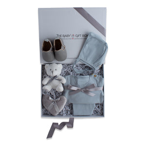 Baby boy gift set, baby clothing & accessories in light blue color theme. Beautifully wrapped in elegant grey & white gift box.