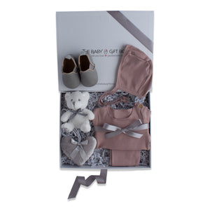 Baby girl gift set, baby clothing & accessories in mauve color theme. Beautifully wrapped in elegant grey & white gift box.