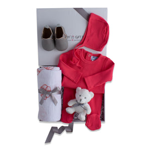 Baby girl gift set, baby clothing & accessories in hot pink color theme. Beautifully wrapped in elegant white & grey gift box.