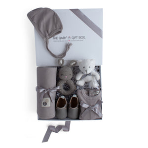 Baby shower gift set, baby clothing & accessories in grey color theme. Beautifully wrapped in elegant white & grey gift box.