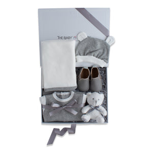 Baby shower gift set, baby clothing & accessories in grey color theme. Beautifully wrapped in elegant grey & white gift box.