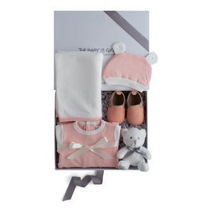 Baby girl gift set, baby clothing & accessories in pink color theme. Beautifully wrapped in elegant grey & white gift box.