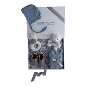 Baby boy gift set, baby clothing & accessories in blue color theme. Beautifully wrapped in elegant white & grey gift box.