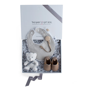 Baby shower gift set, baby accessories in beige color theme. Beautifully wrapped in elegant white & grey gift box.