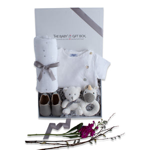 Baby shower gift set, baby clothing & accessories in white color theme. Beautifully wrapped in elegant white & grey gift box.