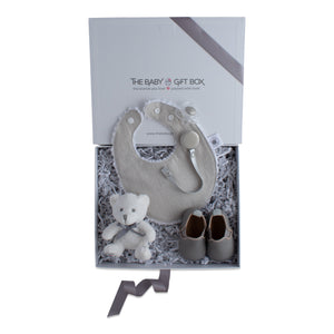 Baby shower gift set, baby accessories in grey color theme. Beautifully wrapped in elegant white & grey gift box.