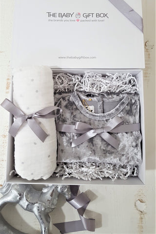 Baby Gift Set Grey Crushed Velvet Footie With Coordinating Pom Pom Hat