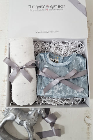 Baby Boy Gift Set Light Blue Crushed Velvet Footie With Coordinating Pom Pom Hat