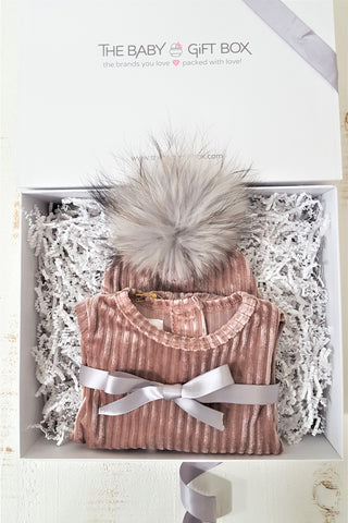 Baby Girl Gift Set Blush Pink Ribbed Velvet Footie With Coordinating Pom Pom Hat