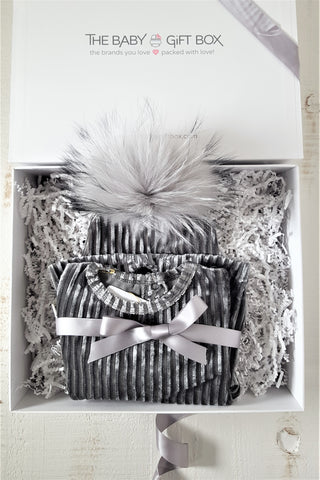 Baby Boy Gift Set Grey Ribbed Velvet Footie With Coordinating Pom Pom Hat