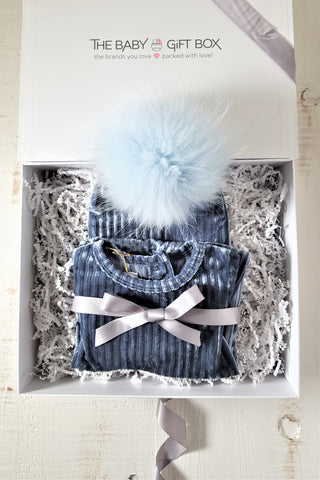 Baby Boy Gift Set Blue Ribbed Velvet Footie With Coordinating Pom Pom Hat