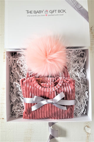 Baby Girl Gift Set Rose Pink Ribbed Velvet Footie With Coordinating Pom Pom Hat
