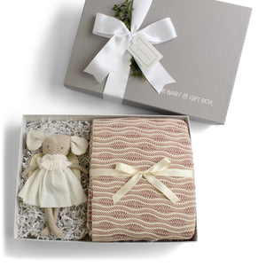Splendid Spools | Baby Gift Set | Mauve & Natural Pattern