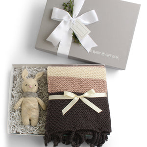 Splendid Spools | Baby Gift Set | Grey & Mauve Fringed