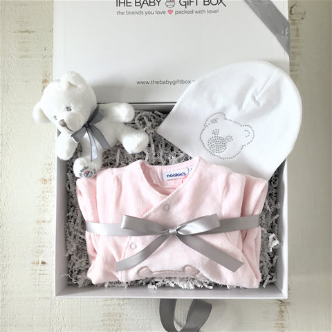 Teddy Bear Themed Baby Gift Set Pink Plush Velour Footie With White Beanie