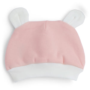 Pink & white cotton baby hat.
