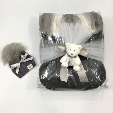 baby gift set for winter bunting bundle me with soft cozy pom pom hat for newborn