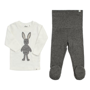 Layette Collection | Footie Set Ragdoll Bunny | Oh Baby! | Charcoal