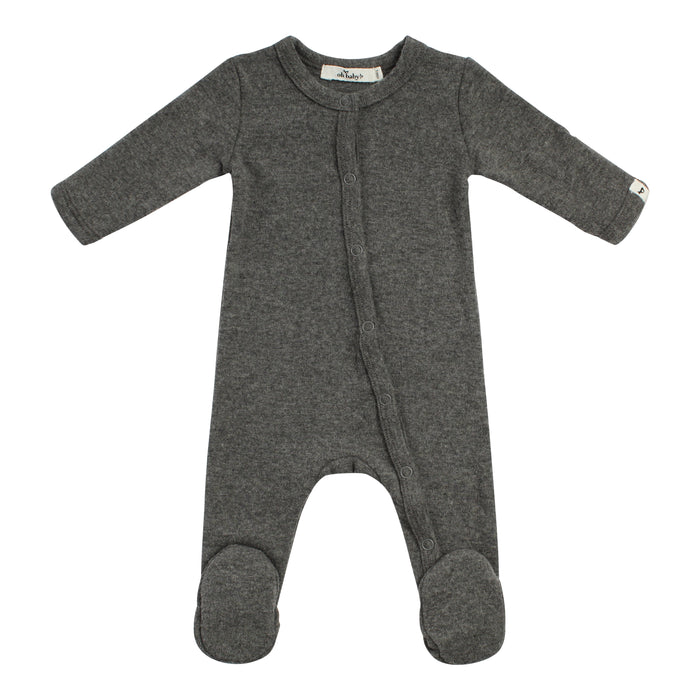 Layette Collection | Footie Onsie | Oh Baby! | Charcoal