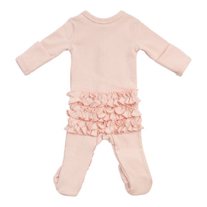 Layette Collection | Footie Onesie Ruffles Galore | Oh Baby! | Pink