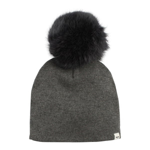 Layette Collection | Snap Fur Pompom Hat | Oh Baby! | Charcoal