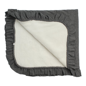 Layette Collection | Ruffle Trimmed Blanket | Oh Baby! | Charcoal