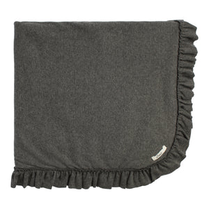 Layette Collection | Ruffle Trimmed Blanket| Oh Baby! | Charcoal