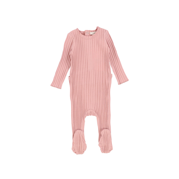 SS21 | Lil Legs | Footie+Bonnet | Wide Ribbed | Barely Blush