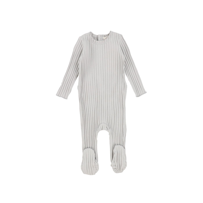 SS21 | Lil Legs | Footie+Bonnet | Wide Ribbed | Cloud Grey