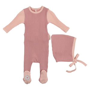 Baby Footie & Bonnet | Mon Tresor SS21 | Color Me Cozy | Dark Rose & Pale Blush