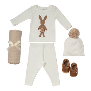 Baby boy gift set cream cotton outfit with pompom hat swaddle and leather sandals
