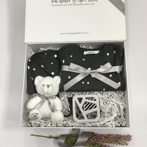 baby gift set of elegant clothing for newborn 2 piece outfit + bonnet + rattle teether toy in beautiful white gift box