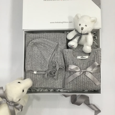Baby Gift Set in elegant box Winter Layette two piece outfit + bonnet + blanket light gray