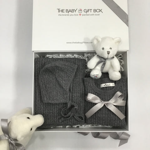 Baby Gift Set in box Winter Layette two piece outfit + bonnet + blanket dark gray