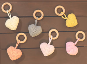 Heart Rattle Teether | Peach | Picky Baby