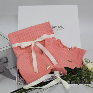 Baby girl gift set, baby clothing & accessories in pink color theme. Beautifully wrapped in elegant white & grey gift box.