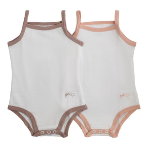 Bodysuit / Undershirt | Petit Clair| Girl 2 Pak | White with Trim