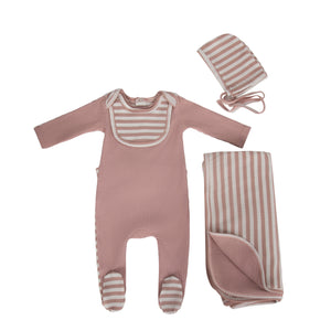 Baby Girl Footie | Striped Bib | Pink | Cadeau SS21