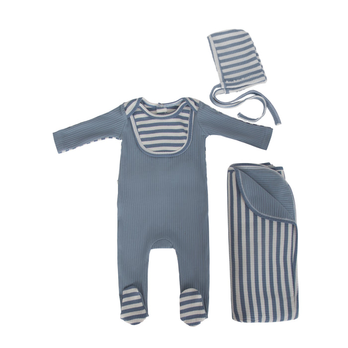 Baby Boy Footie | Striped Bib | Blue | Cadeau SS21